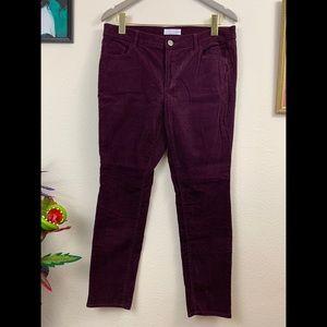 LOFT Burgundy Modern Skinny Corduroy Pants